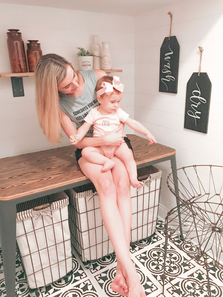 Lauren And Baby On Table In Laundry Room Makeover - Farmhouseish