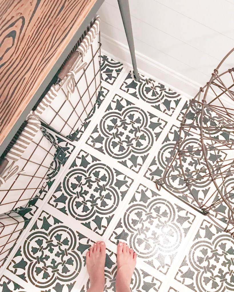 Stencil Floor Tiles - Farmhouseish