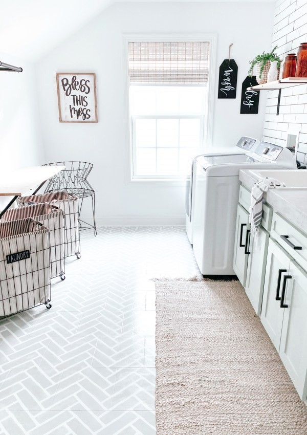 How I Stenciled My Laundry Room Floors (And How You Can Too)