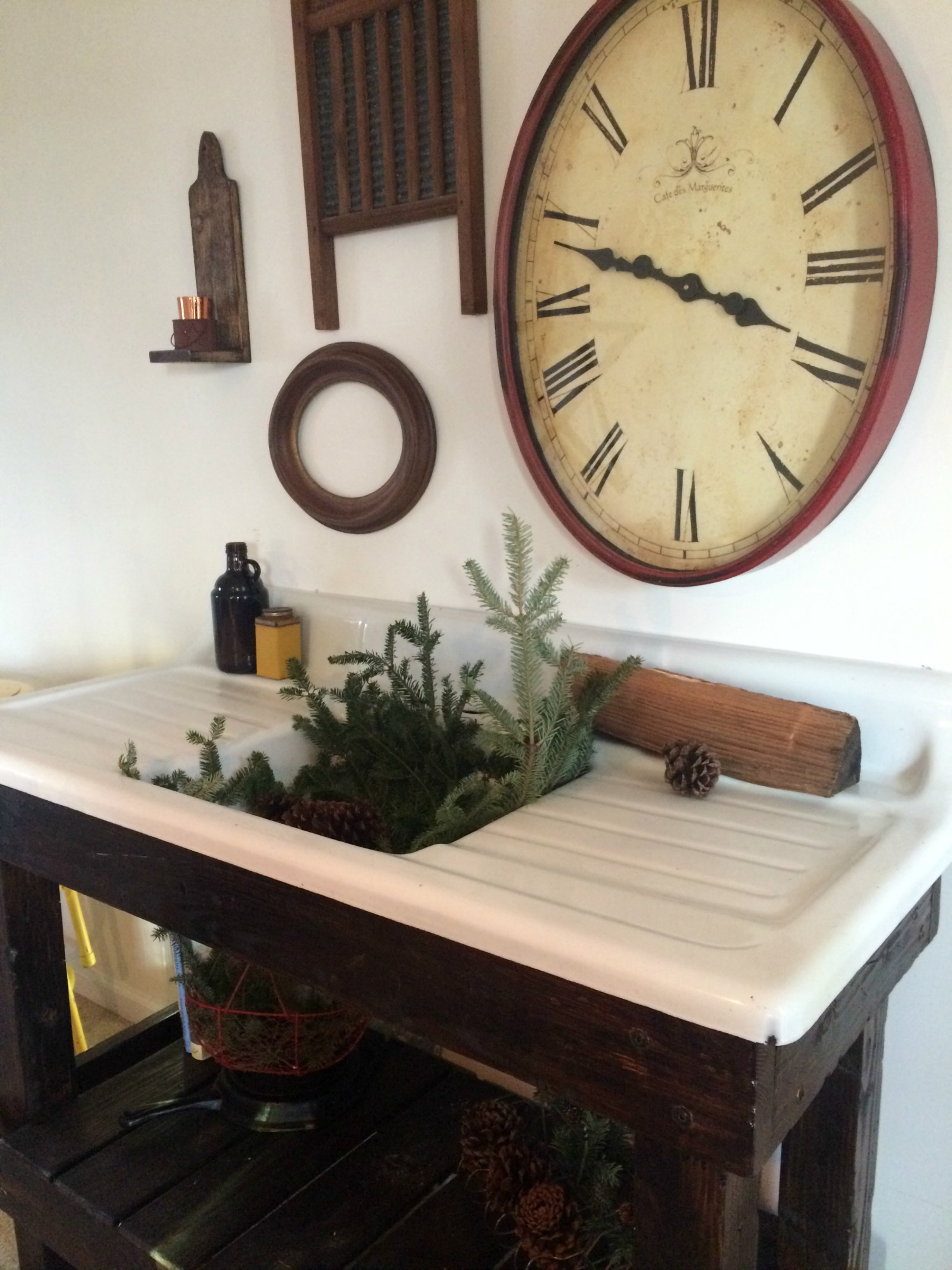 salvaged antique cast iron sink project