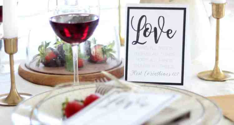 Valentine's Day Table Setting and Free Printable