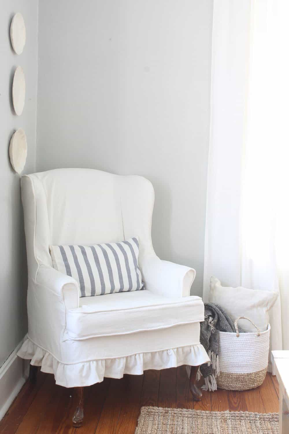 How to Sew a Slipcover for a Wingback Chair - Farmhouse on ...