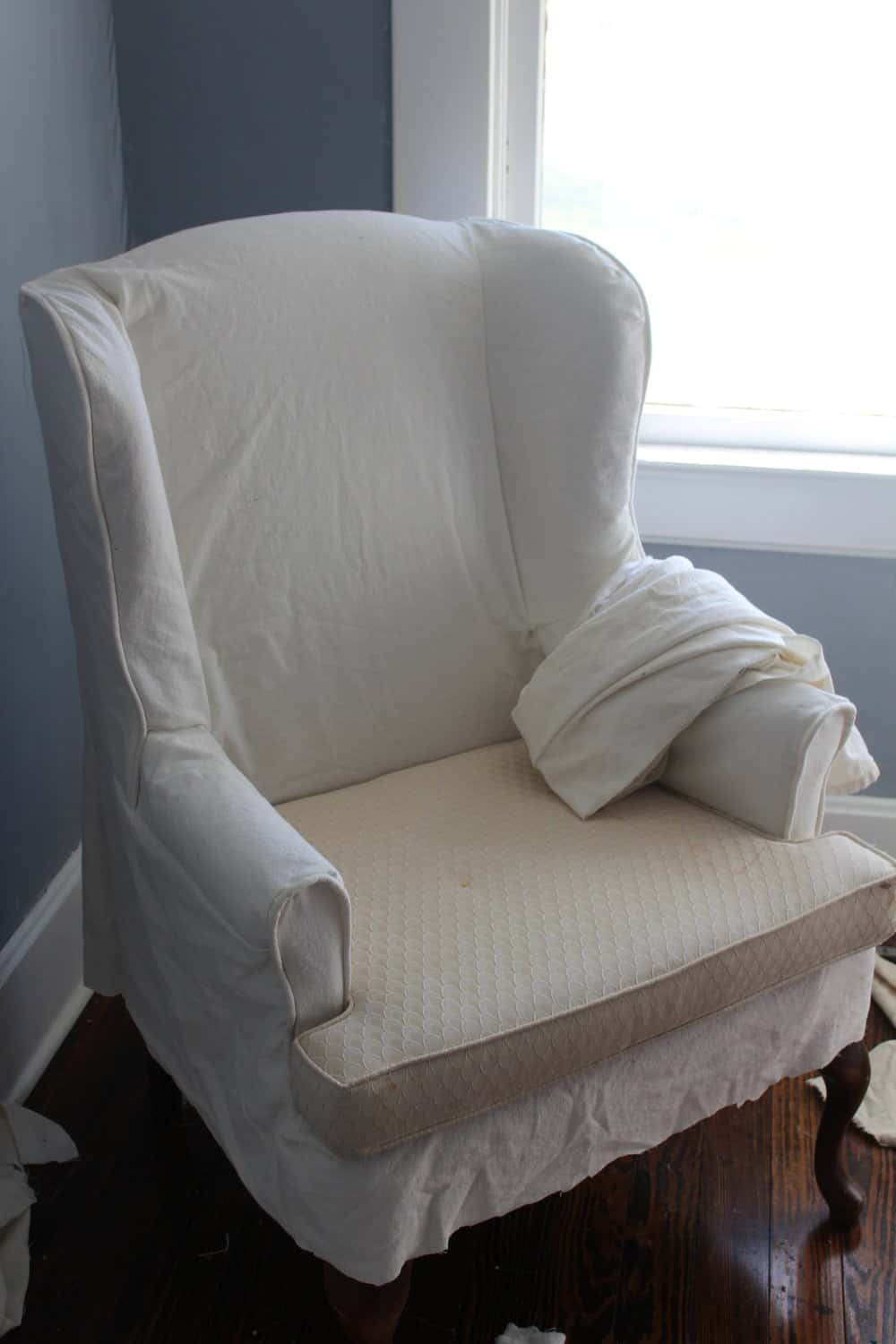 After The Main Portion Of The Slipcover Was Finished, I Added A Ruffle And  Piping To The Bottom Edge To Finish It Off.