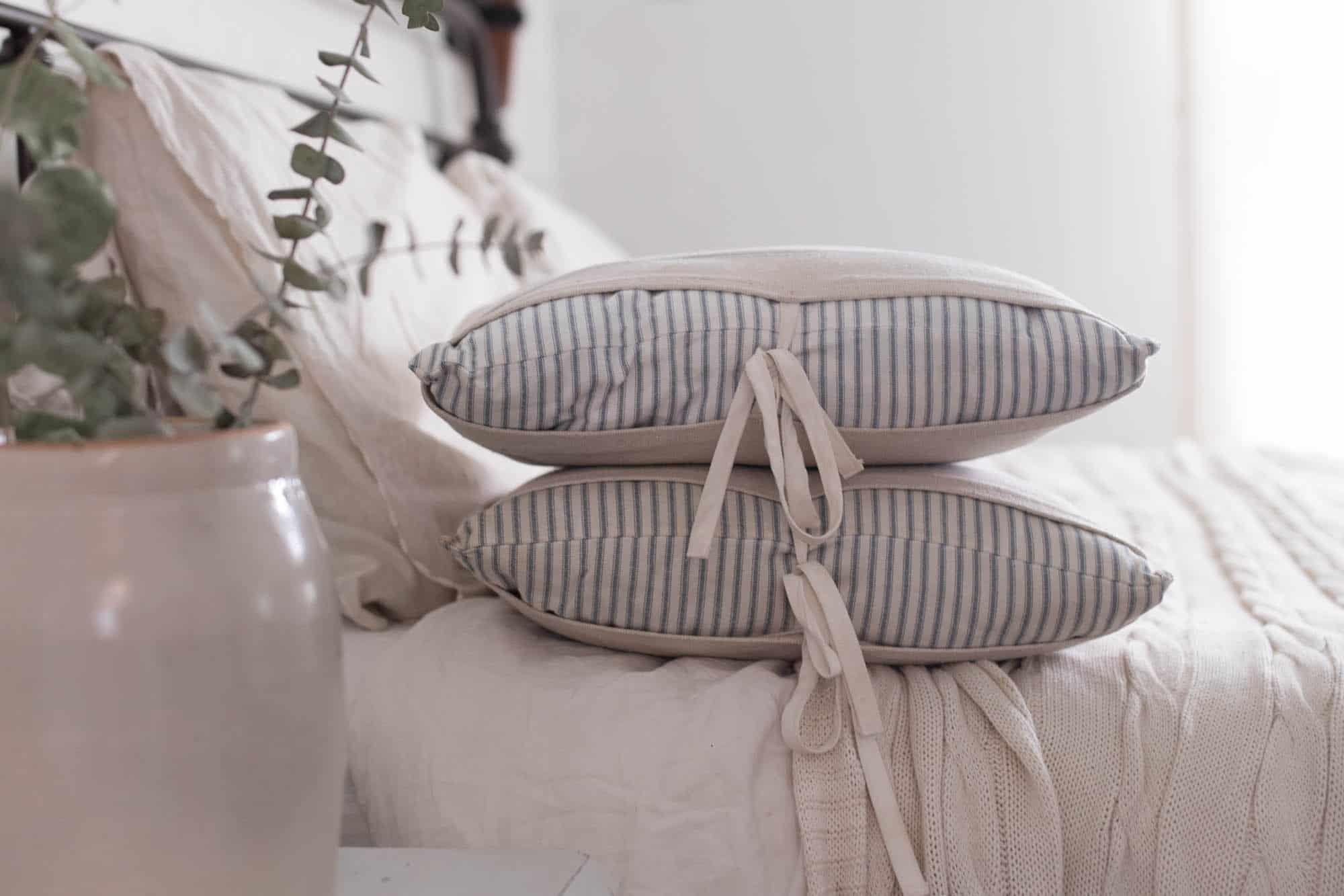 DIY Grain Sack Pillow Covers