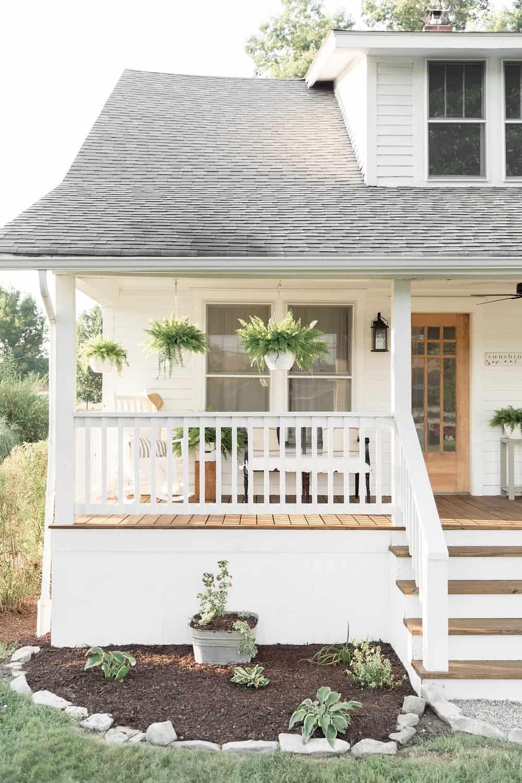 Farmhouse Porch Curb Appeal Makeover Reveal Farmhouse On