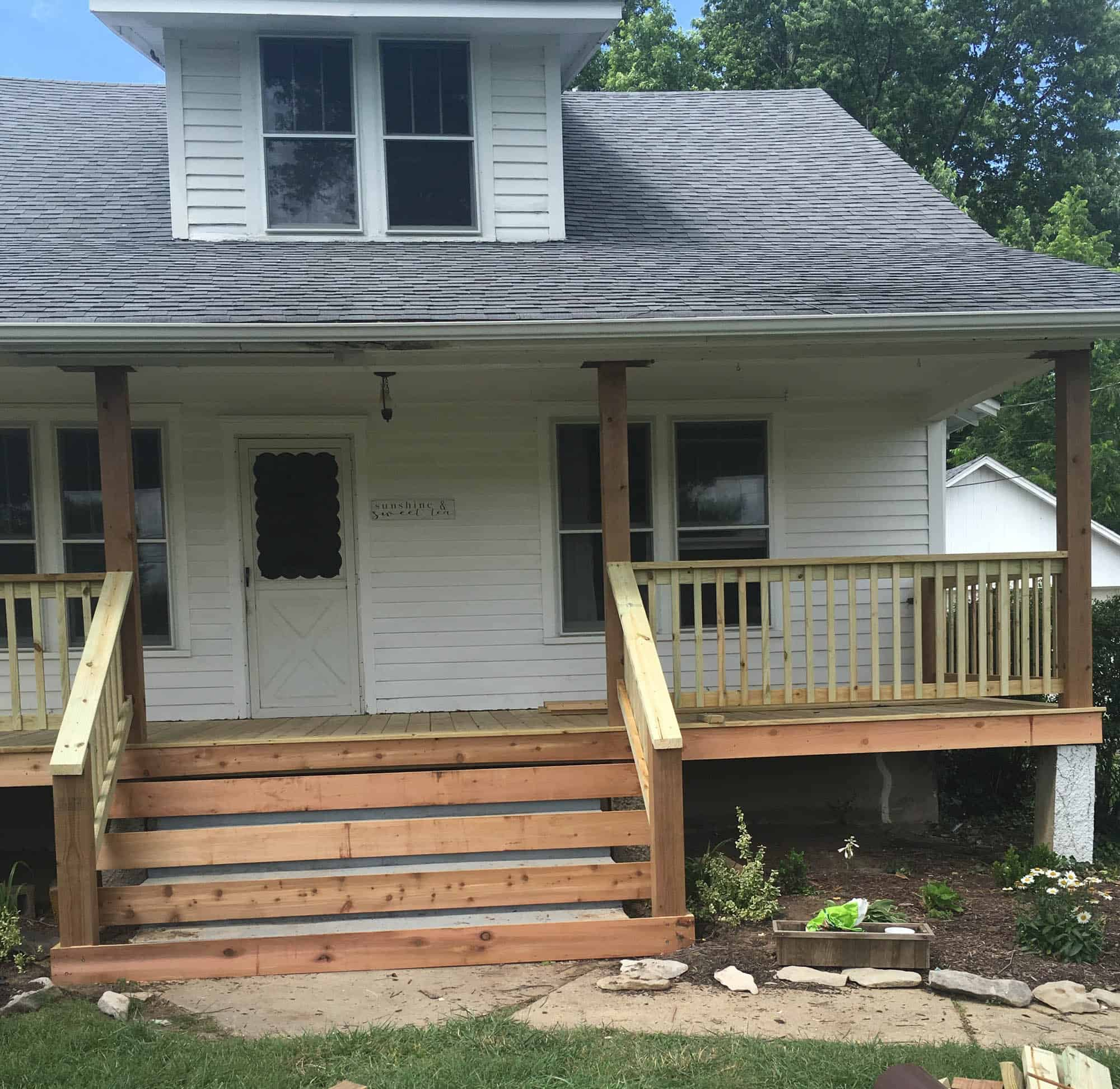 Wood Side Porch ~ How to cover concrete steps with wood farmhouse on boone