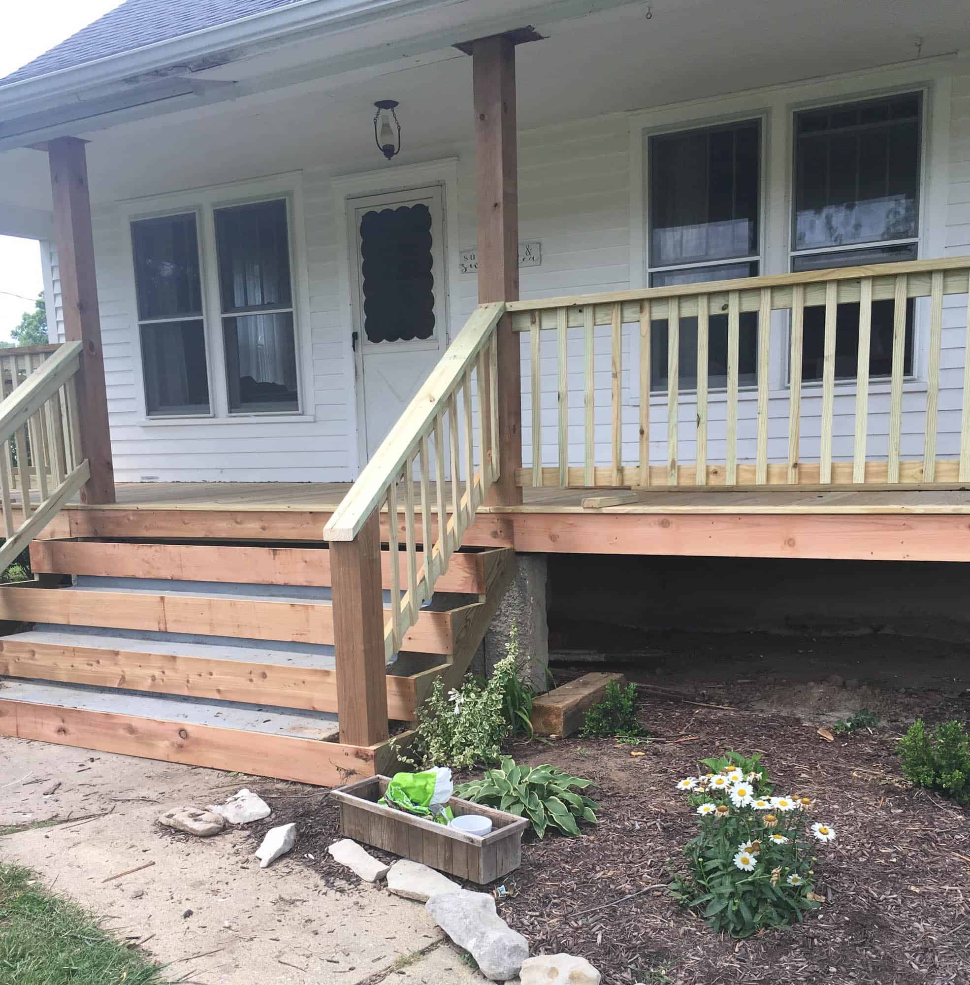 How To Cover Concrete Steps With Wood Farmhouse On Boone | Repairing Outdoor Wooden Steps | Stair Stringer | Concrete Slab | Deck Stairs | Concrete Porch | Deck