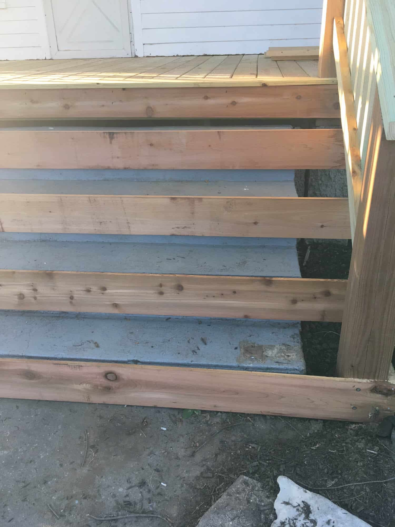 How To Cover Concrete Steps With Wood Farmhouse On Boone   Stairs Covered In Wood   Simple   Wood Paneling   Glass   Rustic   White