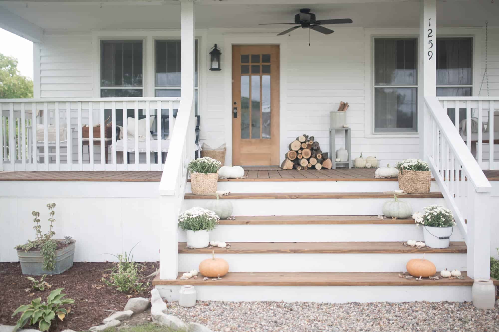 Fall Farmhouse Front Porch Decor With Farmhouse On Boone