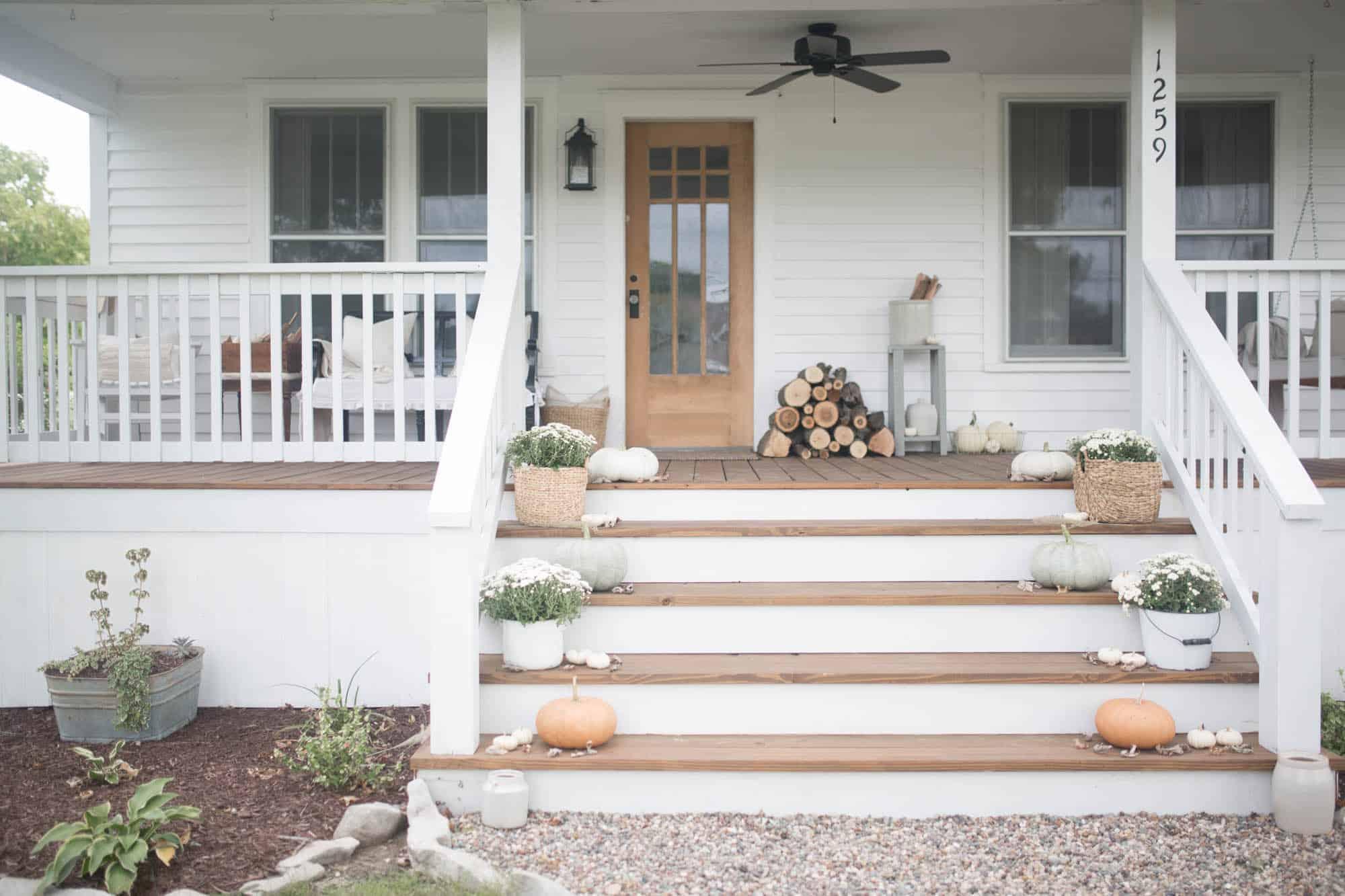 Fall Farmhouse Front Porch Decor with Farmhouse on Boone