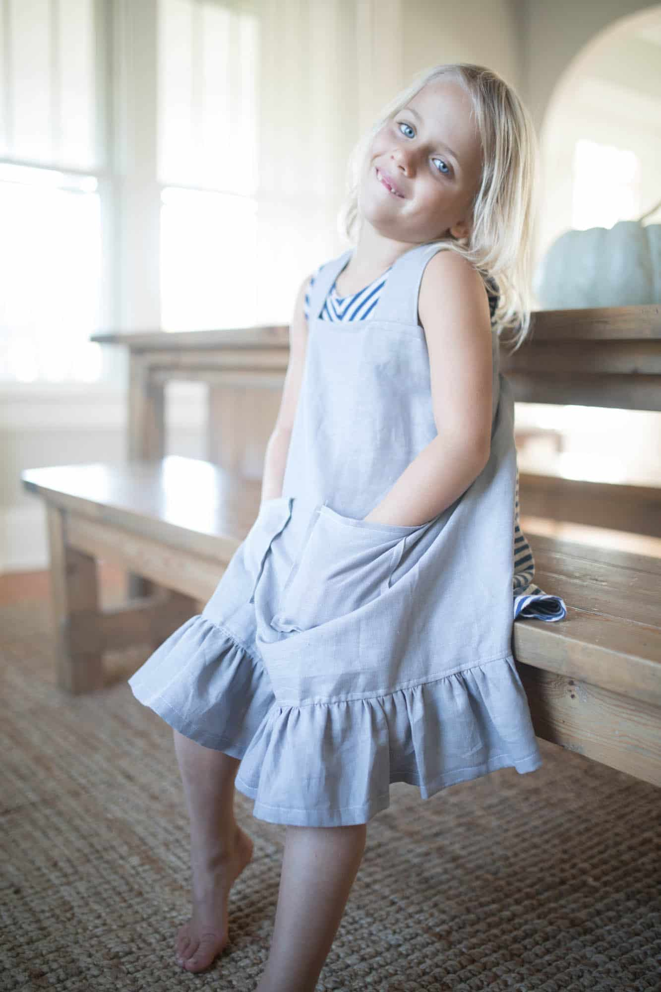 How to Make a Pinafore Apron with Ruffles and Linen Video Tutorial
