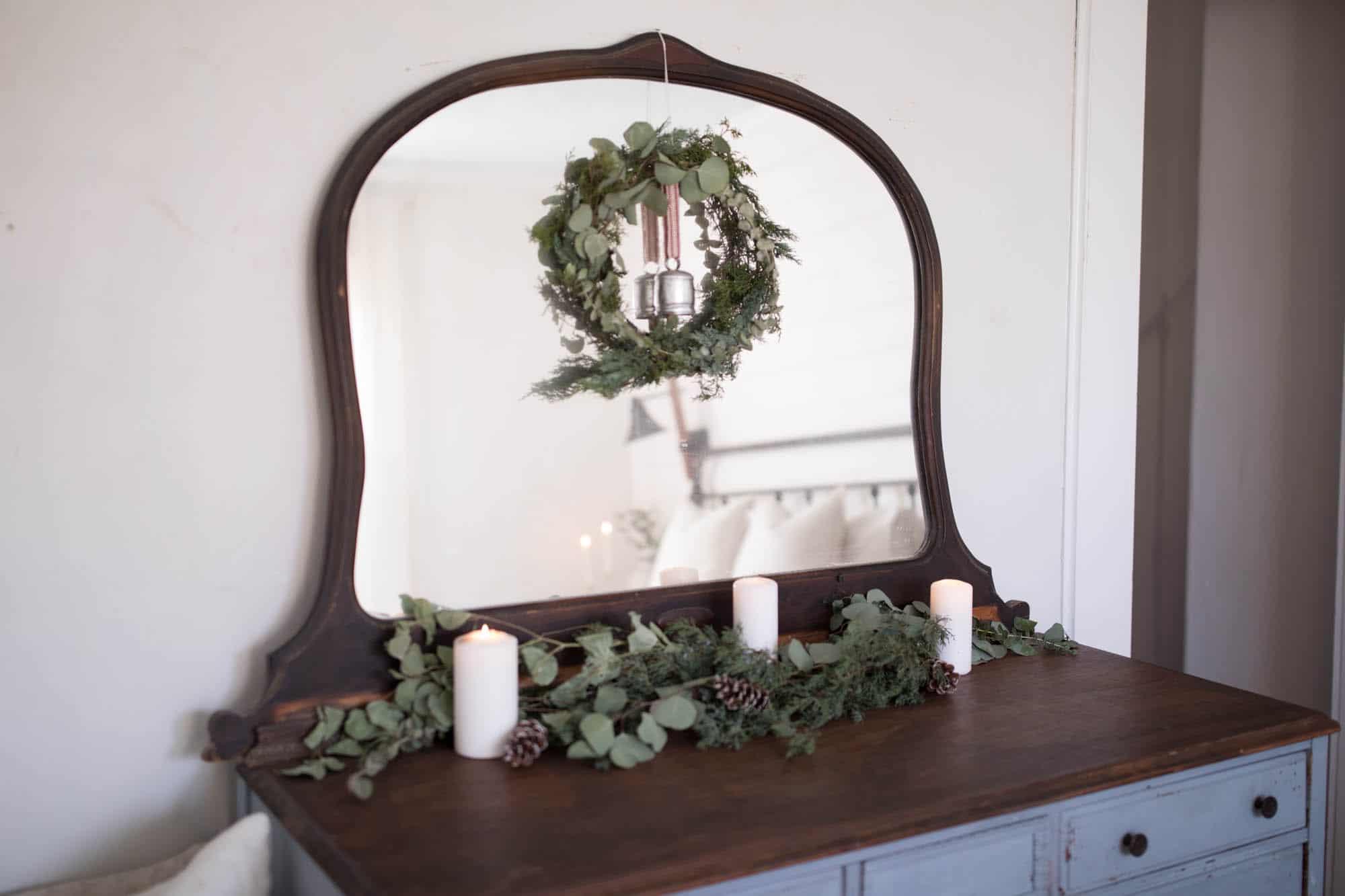 diy fresh greenery wreath natural christmas decorations farmhouse bedroom dresser decor