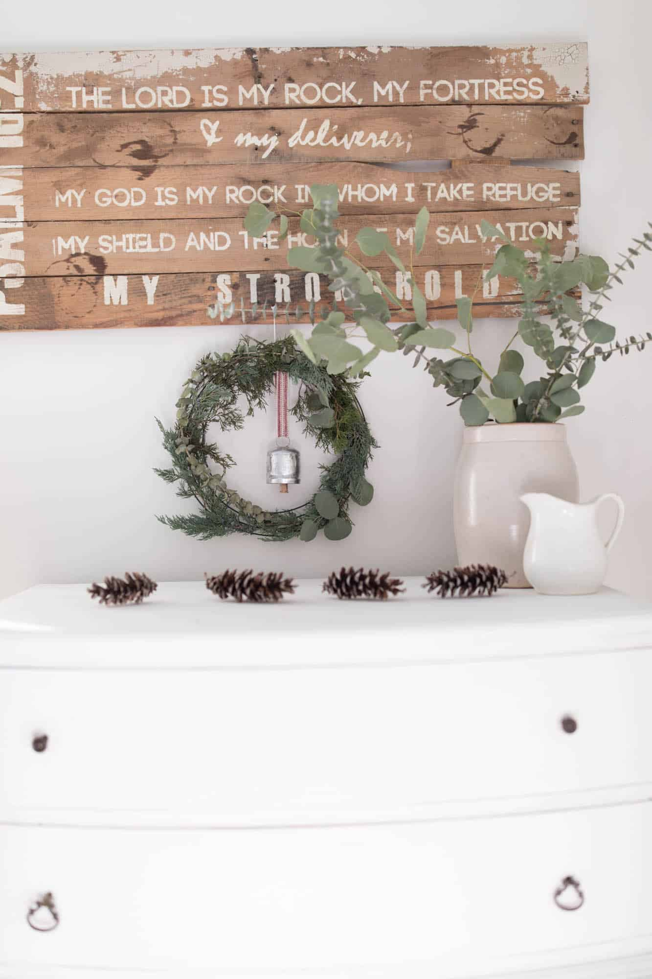 Natural Christmas Decorations Pine Cones and Fresh Greenery Farmhouse Bedroom Chalk Paint Dresser
