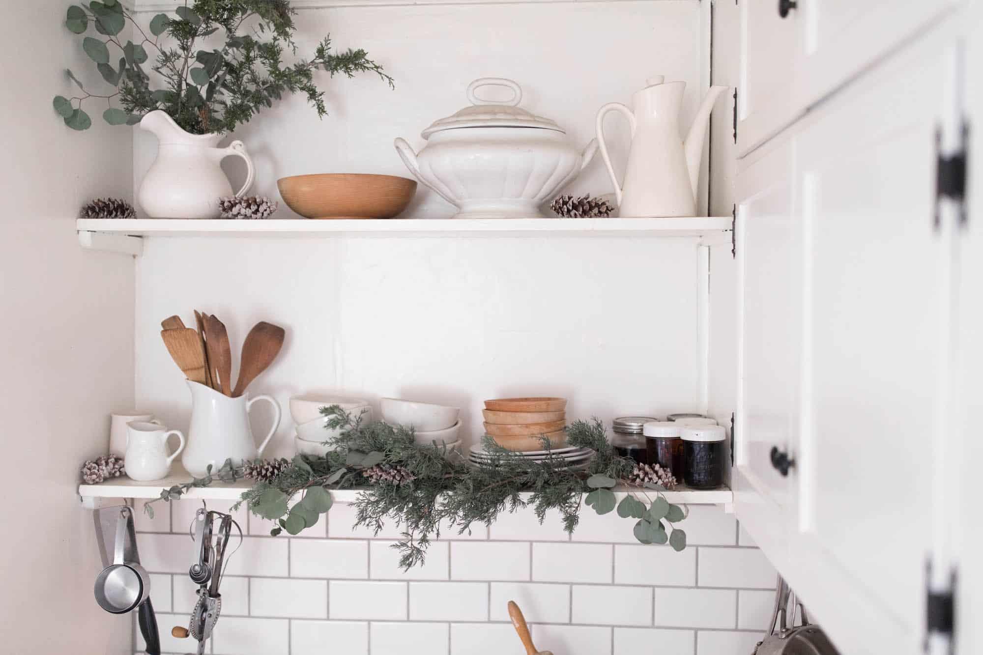 Farmhouse Christmas Kitchen Open Shelving Fresh Greenery