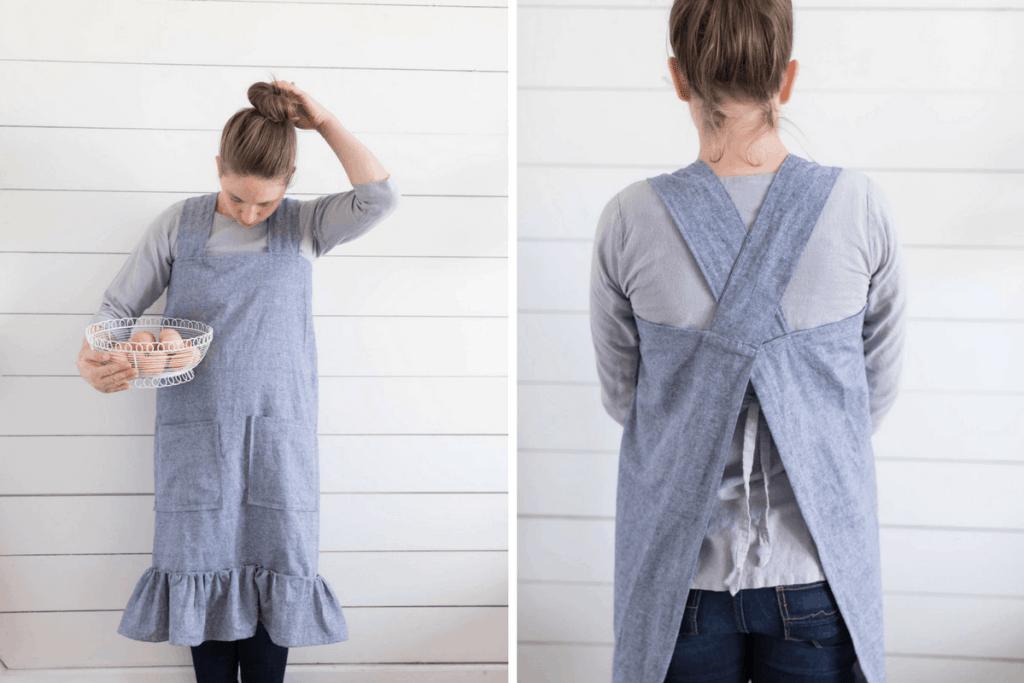 DIY Linen Pinafore apron for Women Video Sewing Tutorial