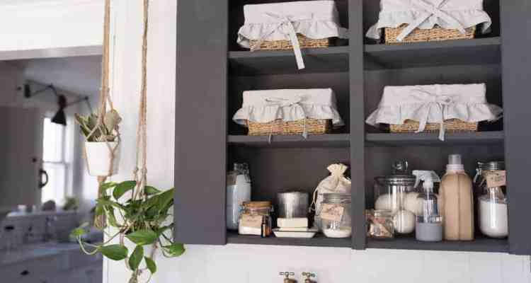 Farmhouse Laundry Room Organization Cabinet Makeover