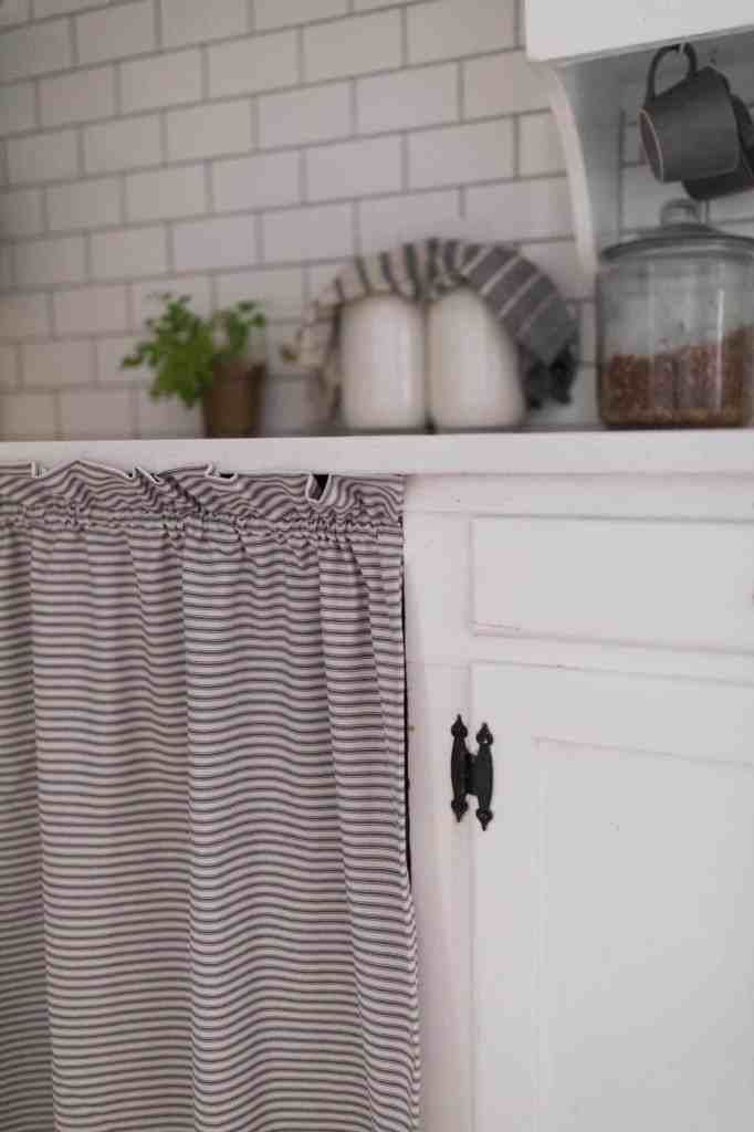 Spring Farmhouse Kitchen Ticking Stripe Curtain