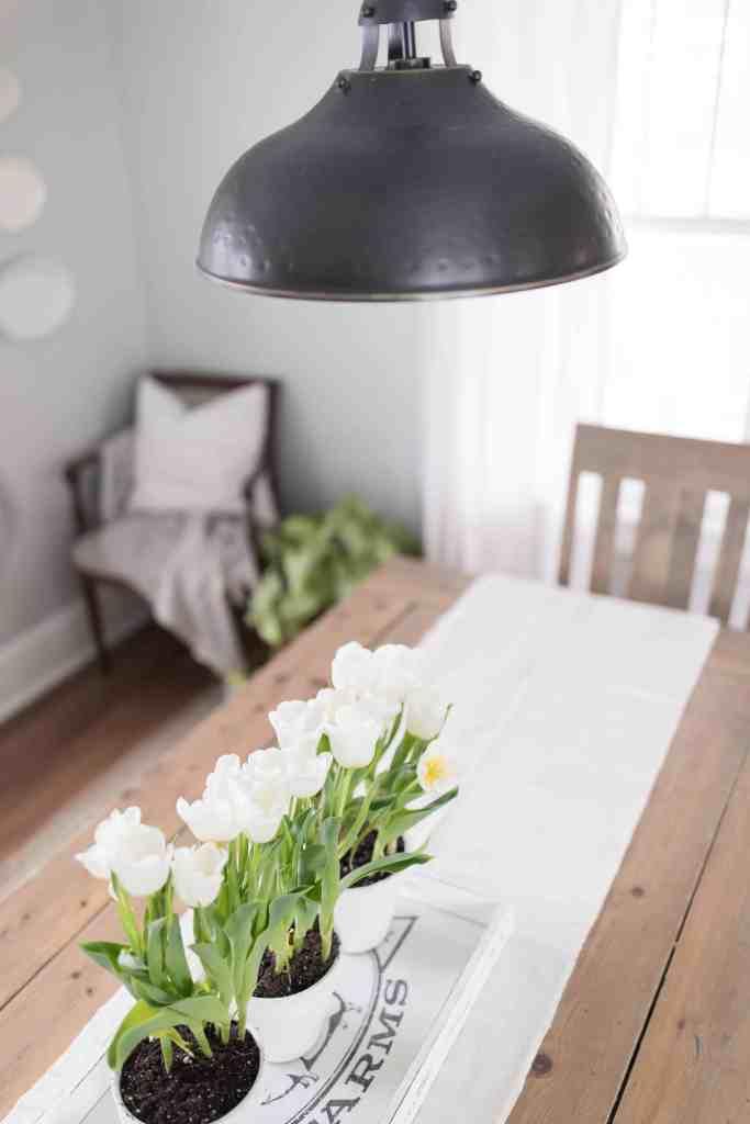Simple spring farmhouse decor table centerpiece