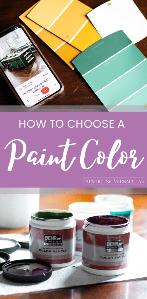 paint samples with text how to choose a paint color