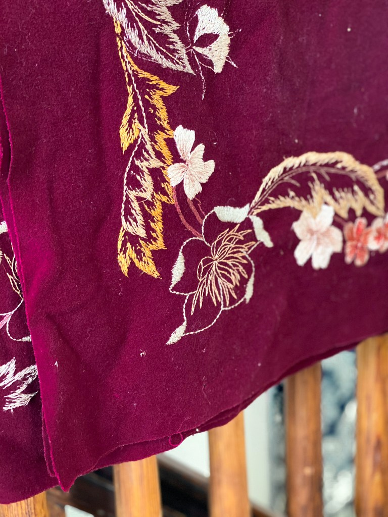 wool silk tablecloth with embroidery