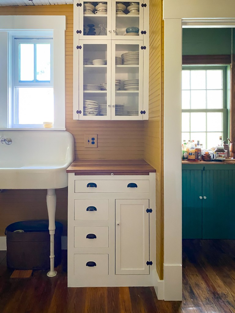 historic kitchen cabinets and pantry