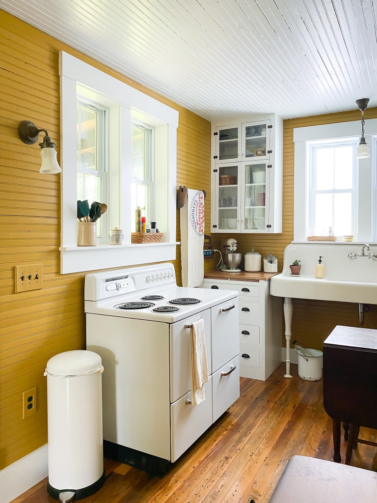 vintage stove and farmhouse sink