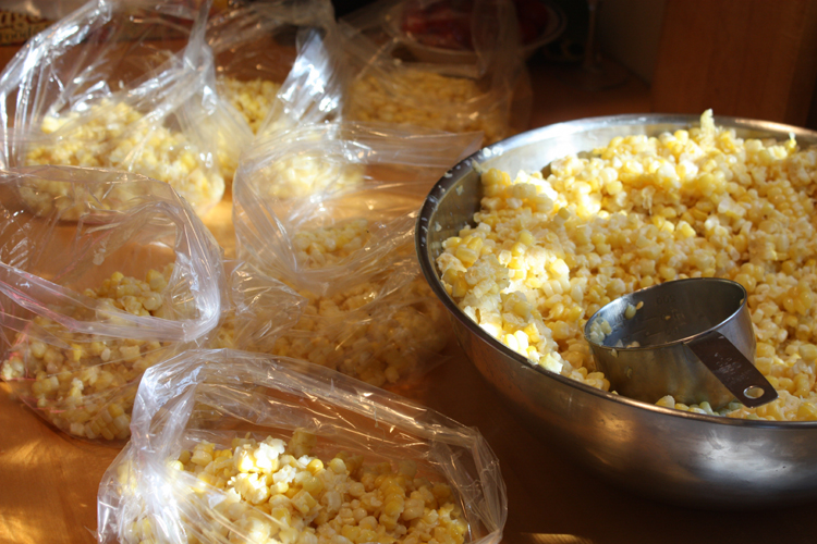 packing bags of corn