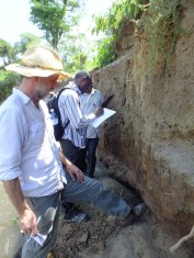 Charly and Emuobosa recording soil profiles at RB06 along the Embobut