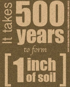 It takes 500 years to form one inch of soil- another reason farmers take care of their land.