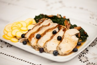 Roasted Turkey and Blueberries with Summer Squash and Greens