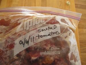 Freezing tomatoes: a freezer bag of smoked Roma tomatoes
