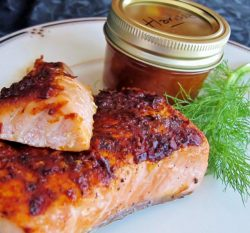 Salmon topped with harissa sauce