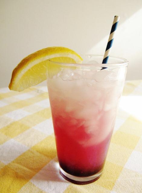 Glass of blueberry lavender lemonade (a mocktail)