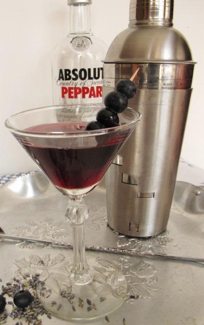 Blueberry Tarragon Shrub Martini