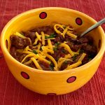 Bowl of slow carb chili made in crockpot