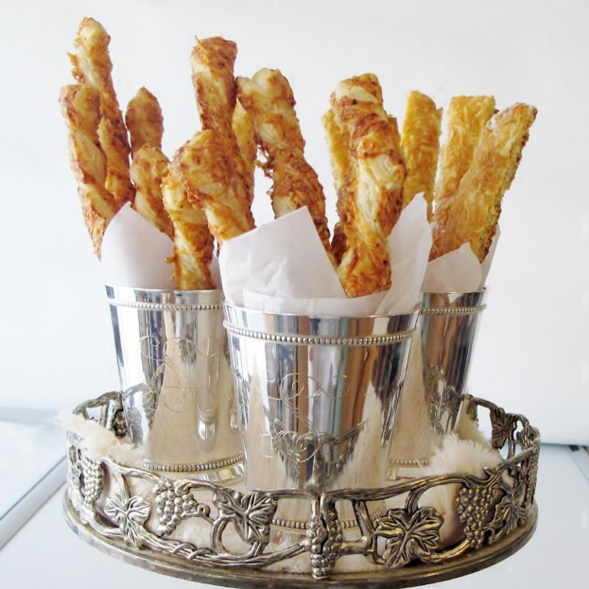 Cheese straws in cups to go with Mint Juleps for Kentucky Derby