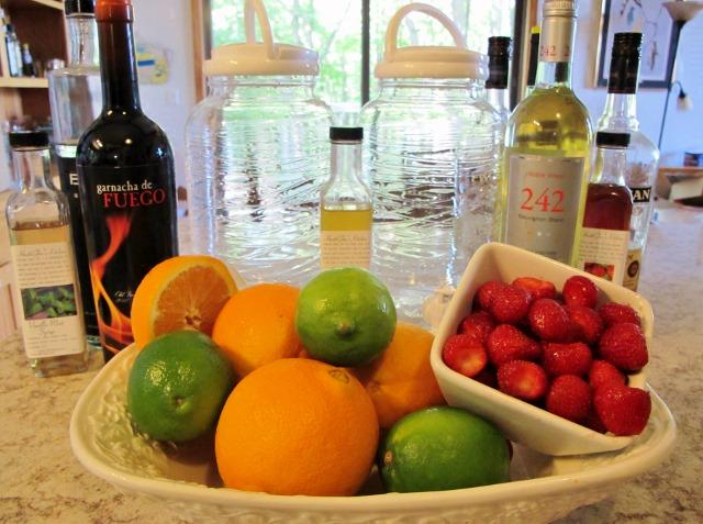 Ingredients for making white Sangria for pitcher drinks