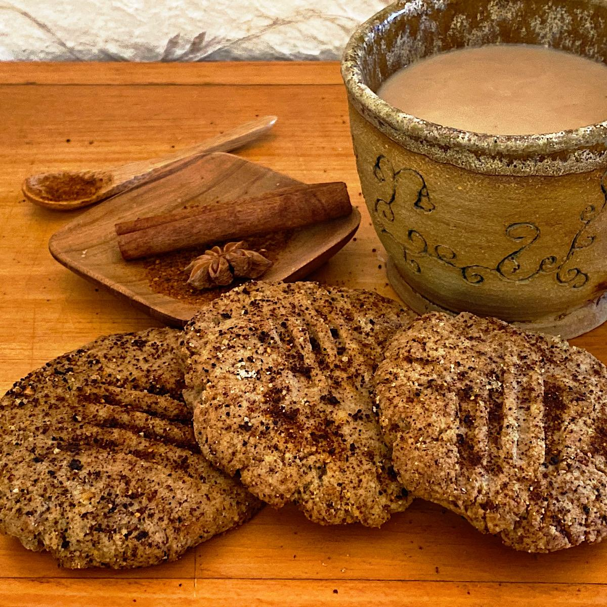 Low carb Mexican Spice cookies with cup of coffee