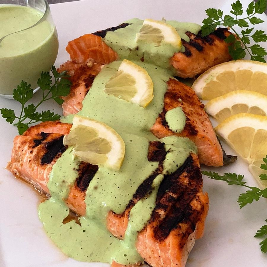 Green Goddess Dressing over Salmon