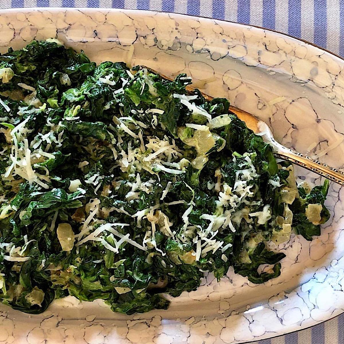 Side dish of creamed spinach