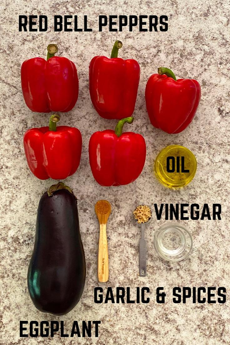 Ingredients used to make red pepper and eggplant Ajvar