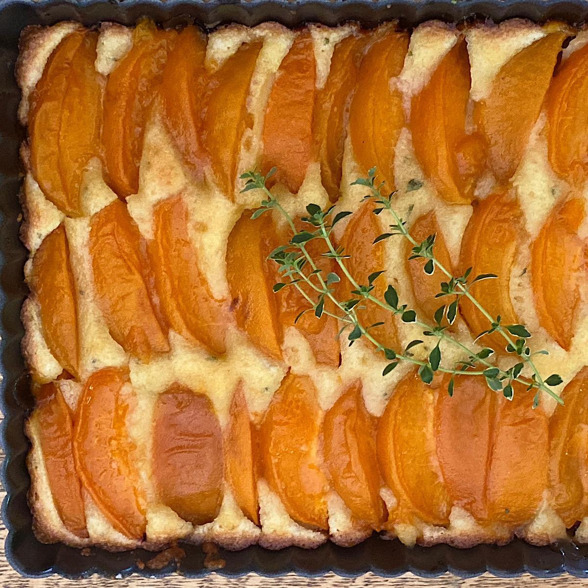 Low carb apricot frangipane tart