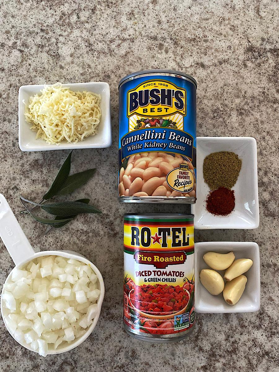 Ingredients for white bean and tomato side dish