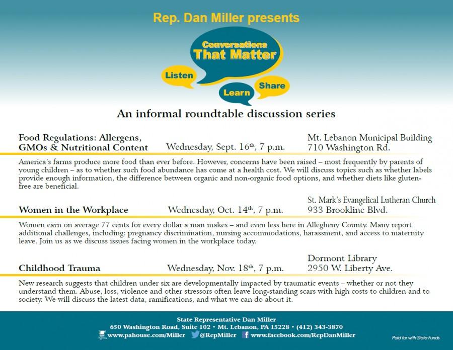 September 16: Food Conversations with State Representative Dan Miller