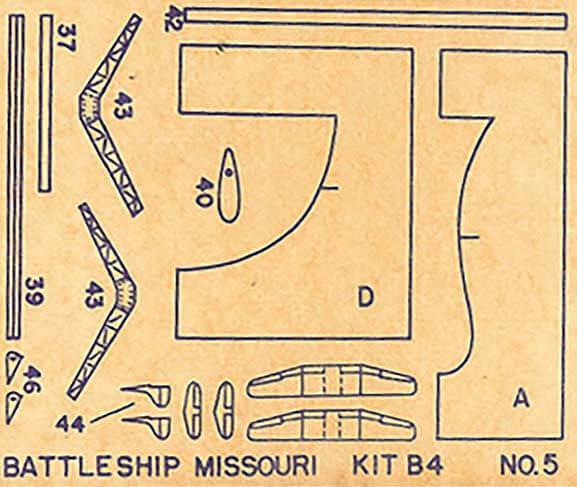 Monogram Diecut Wood Battleship Missouri Model Kit