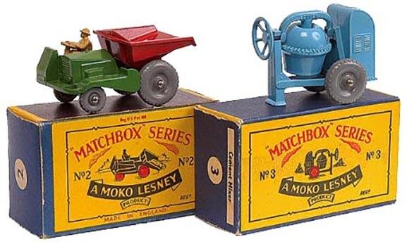Matchbox Series No. 2 Dump Truck & Matchbox Series No. 3 Cement Mixer