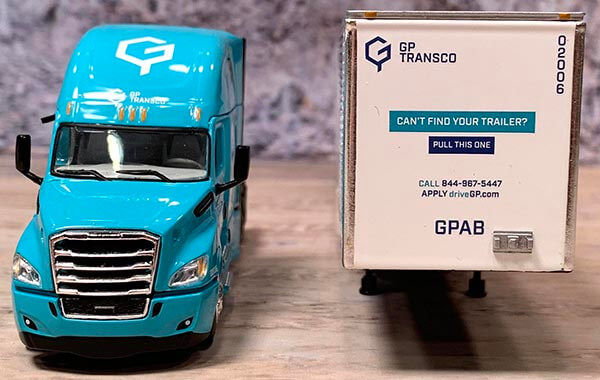 "1:64th scale DCP by First Gear 2018 Freightliner Cascadia with 53' Utility 4000DX Dry Van ""GP Transco"""