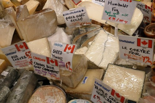 Local and imported cheese on offer at Granville Island Public Market.