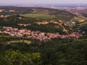 Cliff-top view of villages in the Burgundy region of France. July 17, 2013