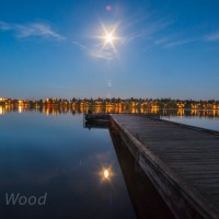 Green Lake with full moon